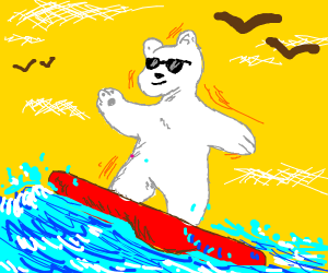Surfing polar bear