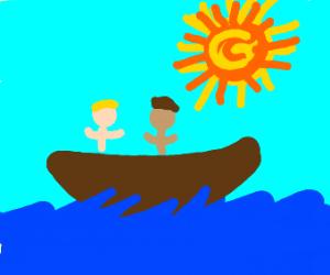 Two men boating in the ocean