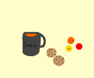 soup with cookies and buttons
