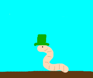 A square worm with a green tophat