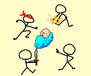 stickmen attack a child.