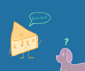 Cheese Man waves goodbye to his dog
