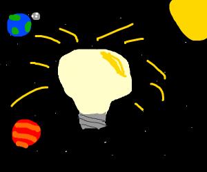 lightbulb in space