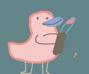 duck holding knifle