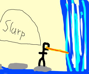 stickman drinking a waterfall with a staw
