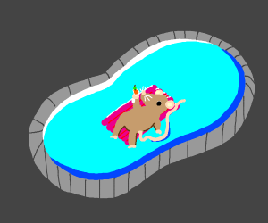 A rat in a pool.