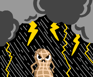 angry peanut in a thunderstorm