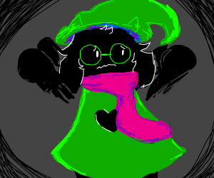 ralsei from deltarune attacked by shadows