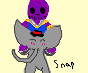 Thanos riding an elephant that has a hat. :)