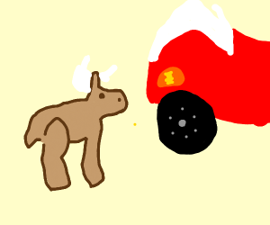 Deer hailing a taxi