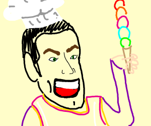 Robbie Rotten but a chef.