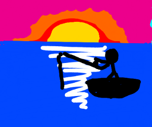 Stickman fishing before sunset