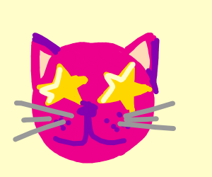 Pink Cat with star eyes