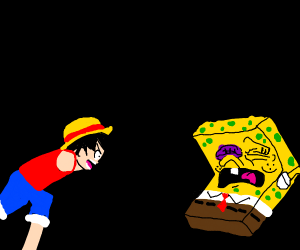 Monkey Luffy beats the crap out of Spongebob