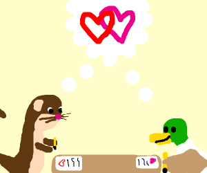 Otter and a bird writing love letters