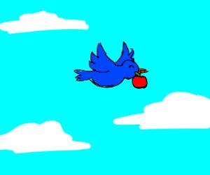 Happy bird holding apple mid flight
