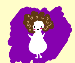 Noseless fat white child with afro