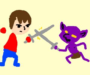 Mii swordfighting with a purple goblin
