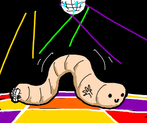 Doing 'the worm' dance on lighted disco floor