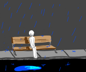 Guy happily sits in the rain