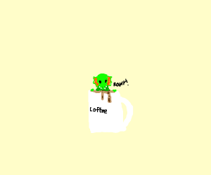 Cute dino drinking coffee >-<