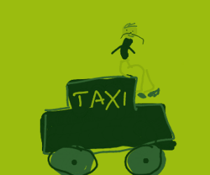 Man on top of a taxi with a mustache