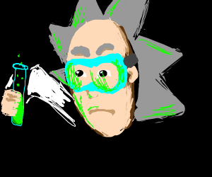 A mad scientist holding a testing tube/w acid