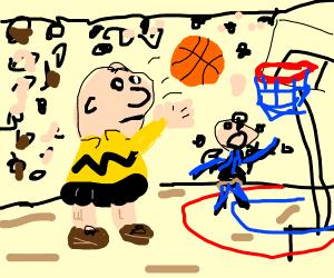 Charlie Brown plays basketball