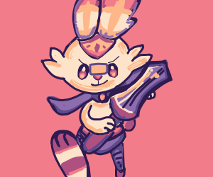 the majestic sir scorbunny with fancy clothes