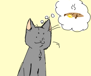 Grey cat thinking of grilled fish with lemon