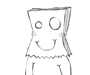 person with paper bag on head
