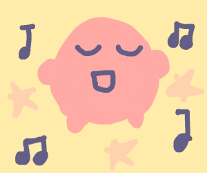 Kirby chillin' to some music