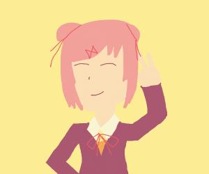 Natsuki throwin up them peace signs (ddlc)