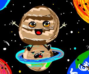Jupiter on Saturn