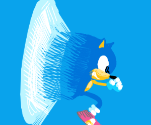Sonic going faster than the speed of sound.