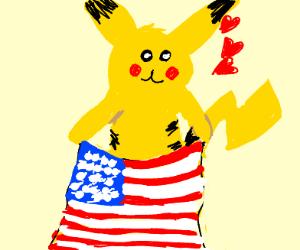 skinny pikachu loves america
