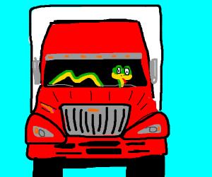 Snake drives a truck