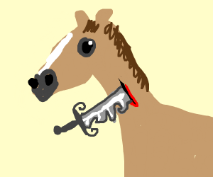 Horse stabbed with fancy knife