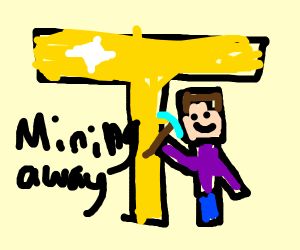 Minecraft character mining a golden T