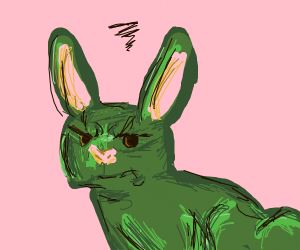 The bunny is all kinds of angry