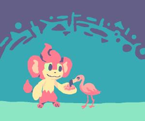 Pansear hand-feeds a petite flamingo