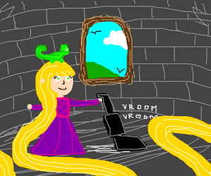 Rapunzel Vacuuming