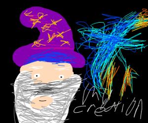 Blue man creates a flaming blue bird