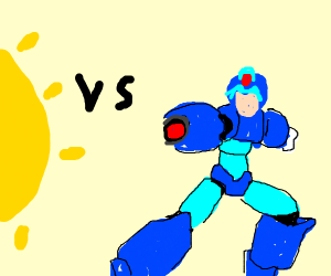 mega man fights the SUN