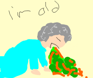 Old lady throwing up