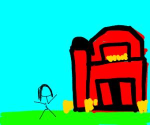 Girl outside a barn
