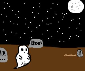 BOO! says chubby ghost