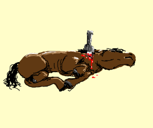 Skinny horse is stabbed in the neck.