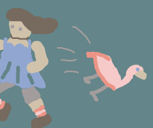 Girl kicked plastic flamingo over & ran away