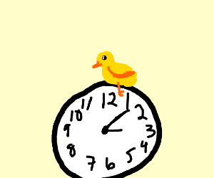 chick on a clock